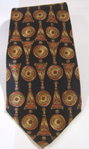 Metropolitan Museum of Art Black Red Gold Silk Tie  Made in USA - $12.17