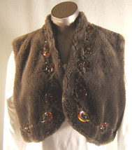 Central Park West Brown Faux Fur  1960's look Beaded  Vest Size S L - $13.97