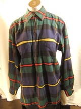 Eddie Bauer Womens Green Blue Red Plaid Flannel Long Sleeve Blouse Size S/P - $11.72