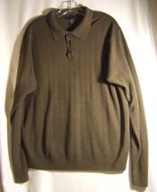 Geoffrey Beene Sweater  XL 46-48 Brown Acrylic Three Button Polo  Long S... - $16.22