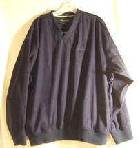 Eddie Bauer Mens Golf Large Navy Blue  Polyester V Neck Long Sleeve Sweater - $11.72