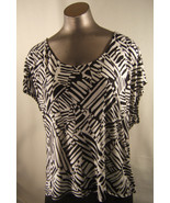 Forever 21 Womens  Large Black  & White Knit Top Sleeveless 100% Rayon - $11.72