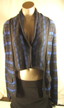 Cache Womens Small Blue  Black Striped Bi Level Cotton Rayon Blend  Sweater - $11.72