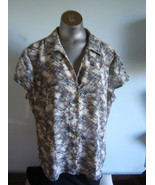 Jones New York Multi Colored Short Sleeve  Blouse Size 16 - $11.72