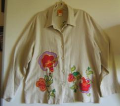 Ruby Rd Beige Linen Embroidery Womens Jacket  Size 10 - $12.17