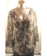 Ann Taylor Silk Brown & Blue Floral  Over Blouse Long Sleeve Two Piece  ... - $11.72