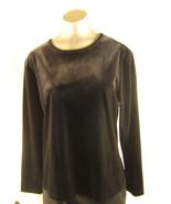Lands' End Womens Black  Boat Neck  Velvet Long Sleeve Top Blouse Size L... - $13.97