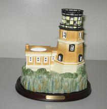 PartyLite Retired Split Rock Porcelain Lighthouse Tea light Candle Holder P8192 - $34.99