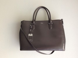 NWOT $298 Ralph Lauren Handbag Newbury Double Zip Satchel Leather - Dark... - $169.00