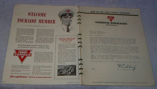 Vintage Conoco Oil Touraide Travel Maps Routing Attractions 1948