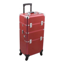 Hiker Cosmetic Holder Red Crocodile Texture Beauty 4-Wheel Makeup Case -... - $155.66
