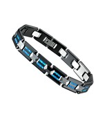 luxury Blue Australia Natural Opal black ceramic tungsten carbide fashio... - $45.86