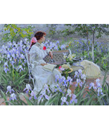 """In the garden. Among the irises, a 24"""" high reproduction oil painting ... - $349.00"""