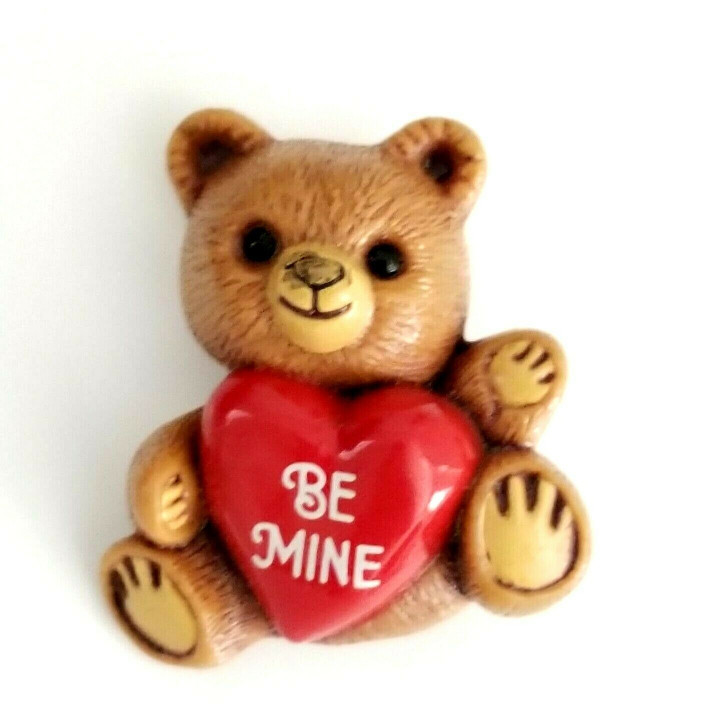 Primary image for 1985 Hallmark Cards Bear~ Be Mine ~ Red Heart Plastic Brooch Pin Valentine VTG