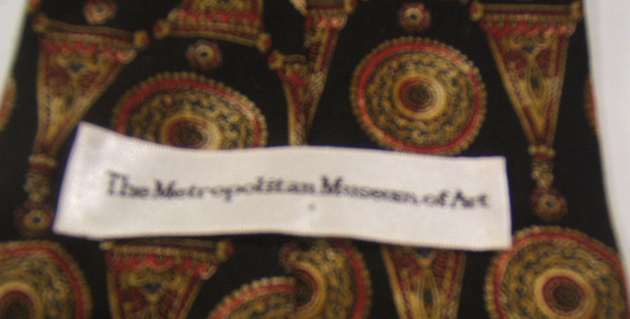 Metropolitan Museum of Art Black Red Gold Silk Tie  Made in USA image 2