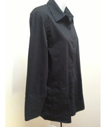 Chicos 1 Black Shirt Jacket Cotton Stretch Long Sleeve French Cuffs Top - $21.53