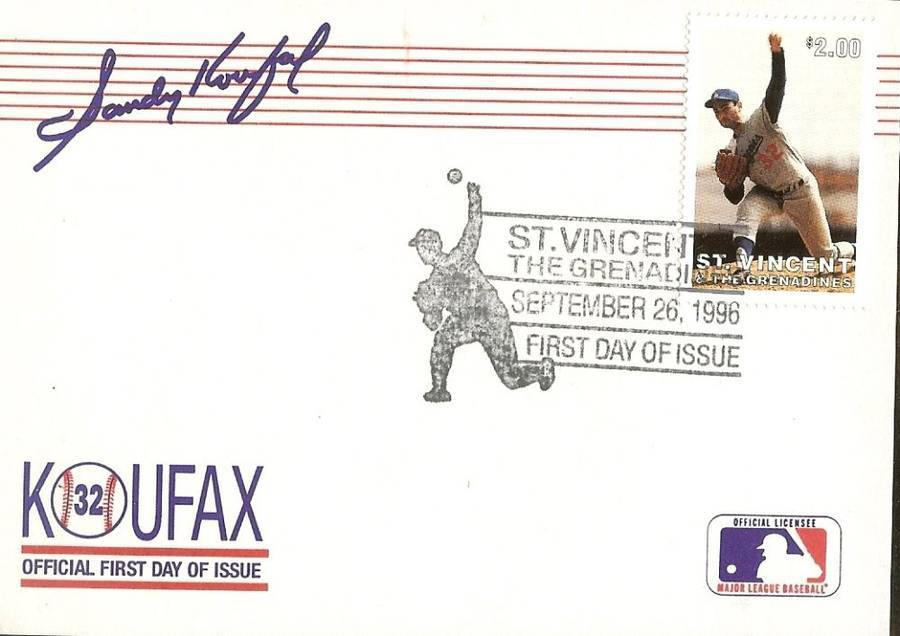 dodger sandy koufax 23k stamp first day of issue postmark autograph facesmile