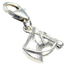Sterling 925 British Silver Charm Horse Head Lobster Cip On Fit by Welded Bliss - $24.36