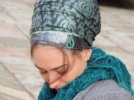 Unique Shiny Tichel Turqoise scarf Hijab,Hair Snood Head ,Head Covering Sinar - $49.90
