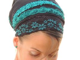 Turqoise Flowers tichel,Hair Snood, Head Scarf,Head Covering,jewish headcovering - $46.50