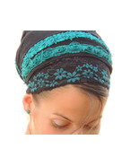 Turqoise Flowers tichel,Hair Snood, Head Scarf,Head Covering,jewish head... - $46.50