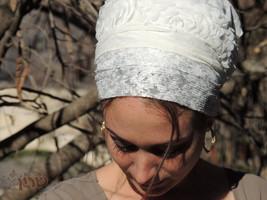 White Shabbat Sinar Tichel - tichel,Hair Snood, Head Scarf,Head Covering,jewish, - $46.50