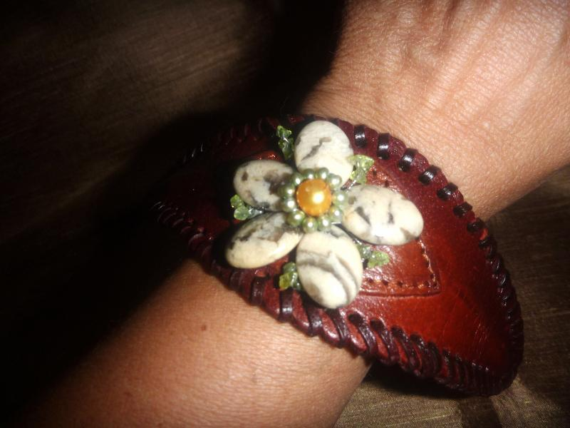 Primary image for Leather Cuff Brown Bracelet with Jasper Flower Stones