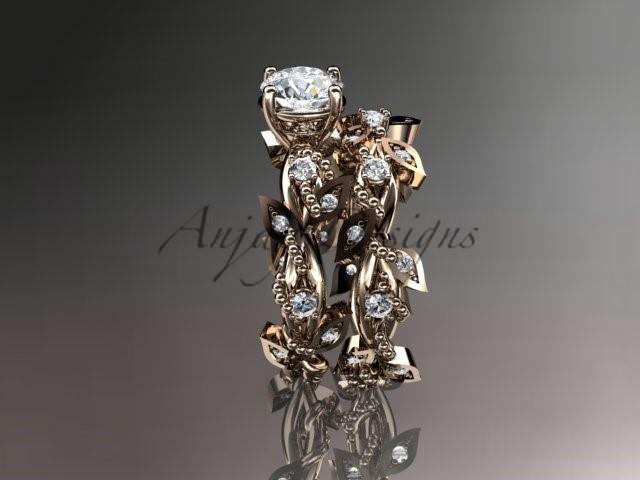 Nature Inspired Engagement Ring Set, 14k Rose Gold Diamond