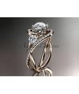 Unique 14kt rose gold diamond moissanite engagement ring ADLR320 - $2,220.00