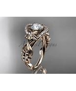 Floral engagement ring, 14kt rose gold diamond unique engagement ring, w... - $1,475.00