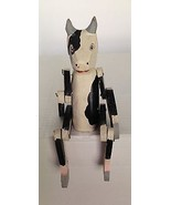 Vintage Handmade Black & White Cow Movable Arms and Legs Collectable - $38.69