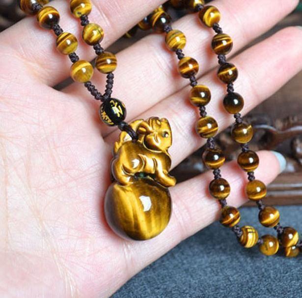 handmade natural tiger eye stone pi yao Amulet beaded pendant / beaded necklace - $26.72