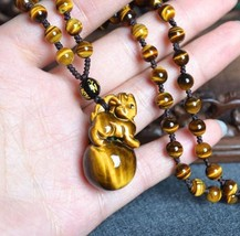 handmade natural tiger eye stone pi yao Amulet beaded pendant / beaded necklace - $26.72