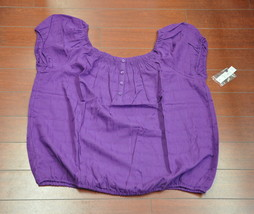 Womens Faded Glory  Short Sleeve Peasant Top Blouse Purple Size XXL(20) - $5.95
