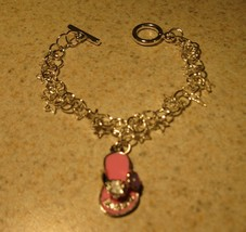 BRACELET CHILDS SILVER PINK THONG SLIPPER CHARM #520 - $10.99