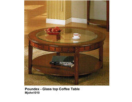 Glass Top Coffee Table With Storage Shelf in Cherry Brown Finish - $295.00