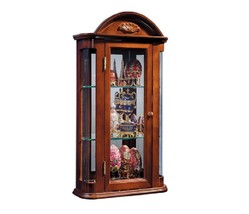 Wall Curio Cabinet Vintage Classic Brown Mirror Backing Rosedale Tuscan ... - $165.00