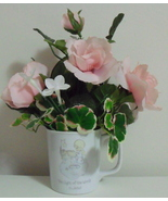 Precious Moments 1985 Pink Floral Arrangement Coffee Mug - $10.95