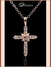 Studded CZ Austrian Crystal Diamond 18k Rose Gold Plated Cross Pendant Necklace