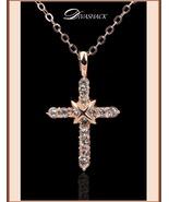 Studded CZ Austrian Crystal Diamond 18k Rose Gold Plated Cross Pendant N... - $115.95