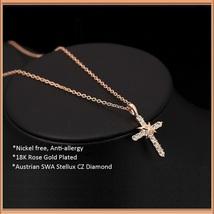 Studded CZ Austrian Crystal Diamond 18k Rose Gold Plated Cross Pendant Necklace  image 2