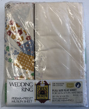 Vtg Sears Perma Prest Wedding Ring Full size flat Sheet Open Hearth Coll... - $23.36