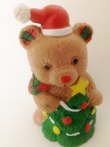 "Applause Russ Berrie 2 1/2"" Santa Bear w Christmas Tree Figurine - $9.05"