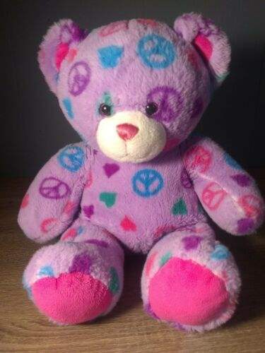 Primary image for Build A Bear Workshop Purple Peace Sign Heart Design Plush Bear 15 Inches Tall