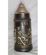Vintage Lidded Stein W. Germany #5 Tavern Scene... - $35.99