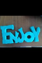 "Wooden ""ENJOY"" Sign Freestanding Plaque Turquoise Color 12"" x 5""  - $24.99"