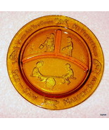 CHILDREN'S NURSERY RHYME PLATE HONEY AMBER GLASS  8 1/2 INCHES - $8.95