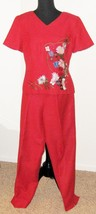 Borcellini Woman Red Embroidered Size 8 Pant Su... - $17.51