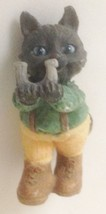 "Grey 2"" Cat Kitten in Green Tan Outfit Figurine Holding Letter U - $6.71"