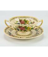 Royal Doulton The Cavendish Bouillon Cup & Saucer Set Vintage England Cr... - $24.50
